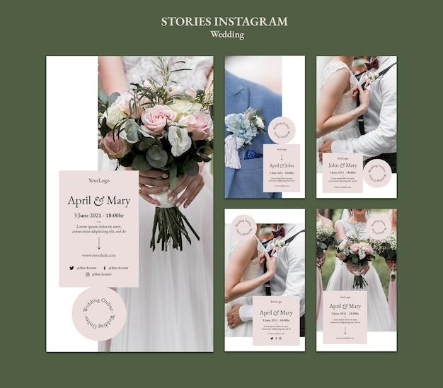 Histórias de eventos de casamento no instagram