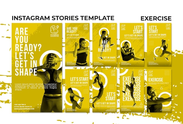 Histórias de exercícios de fitness no instagram