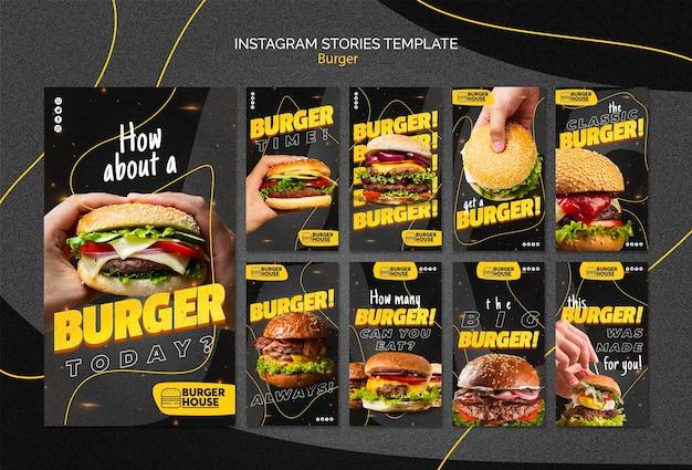 Histórias de hambúrguer no instagram