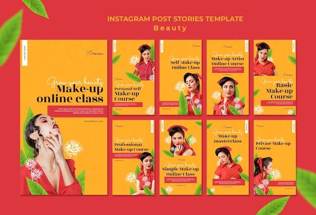 Histórias de instagram de aulas online de maquiagem