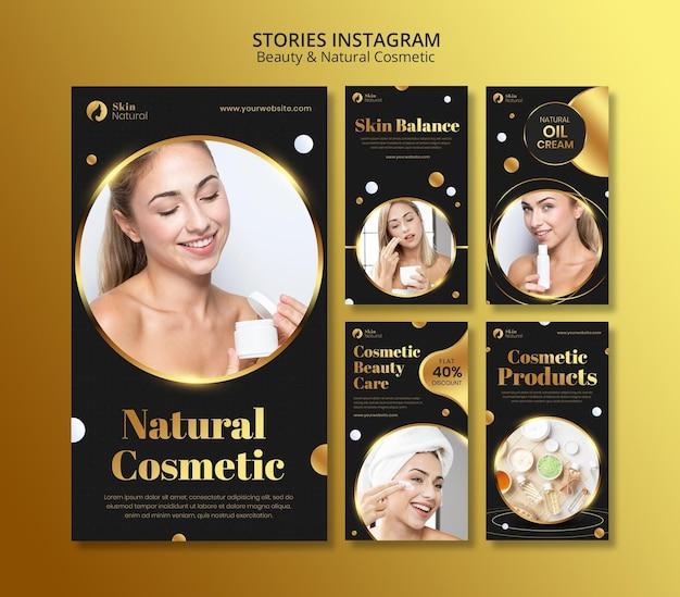 Histórias de instagram de beleza e cosméticos naturais