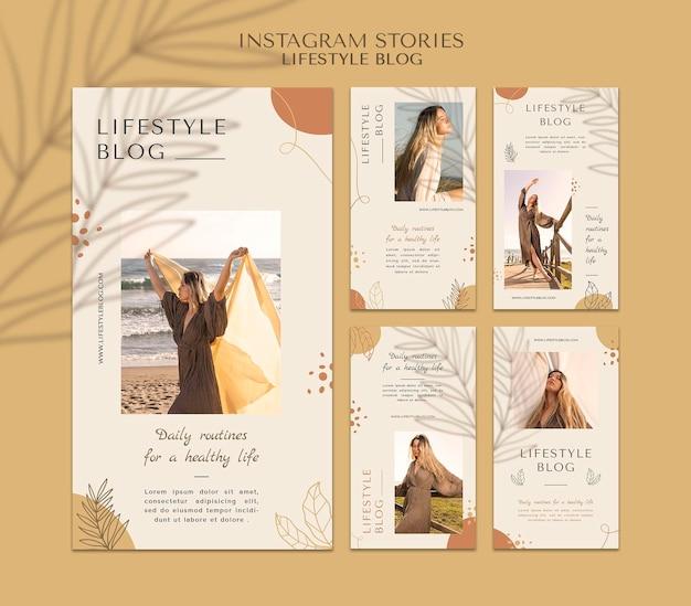 Histórias de instagram de blog de estilo de vida