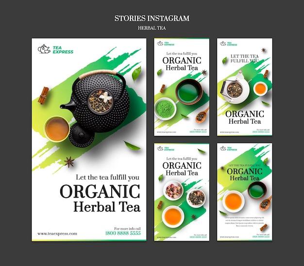Histórias de instagram de chá de ervas