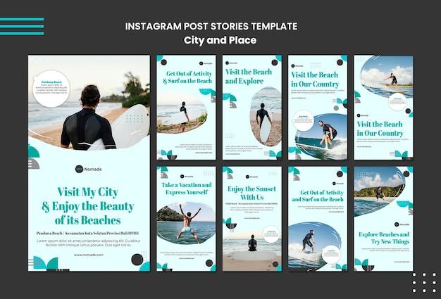 Histórias de instagram de cidades e lugares