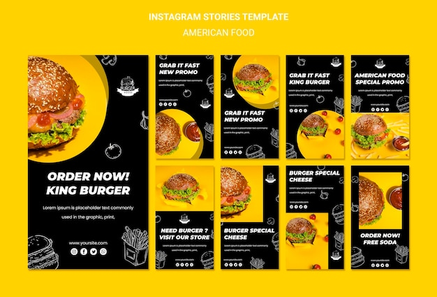 Histórias de instagram de comida americana