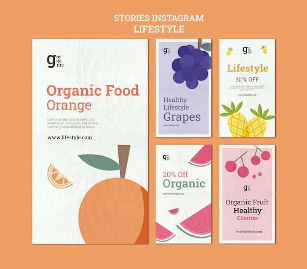 Histórias de instagram de comida orgânica