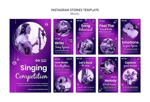 Histórias de instagram de competição de canto