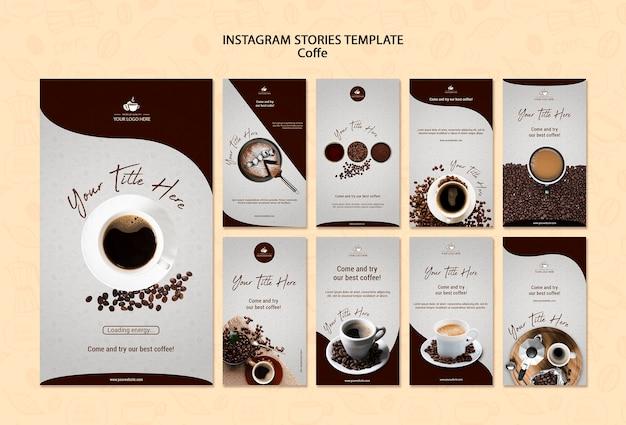 Histórias de instagram de conceito de café