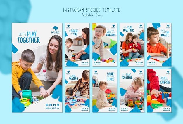 Histórias de instagram de conceito de cuidados pediátricos