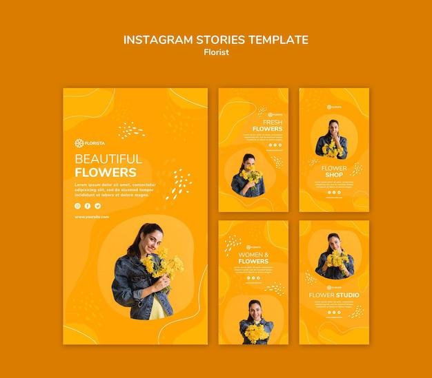 Histórias de instagram de conceito de florista