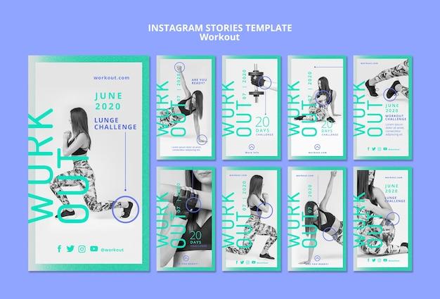 Histórias de instagram de conceito de treino
