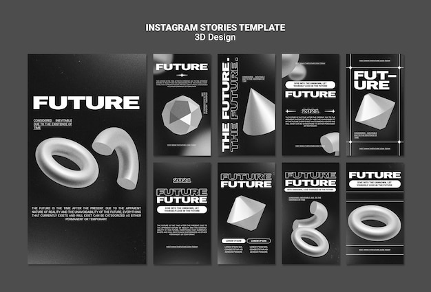 Histórias de instagram de design 3d