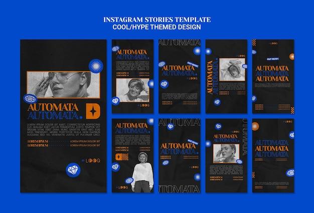 Histórias de instagram de design com tema hype