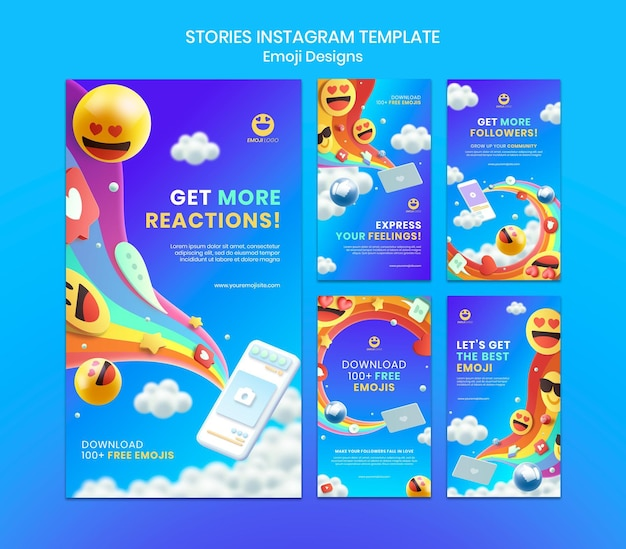 Histórias de instagram de design de emoji
