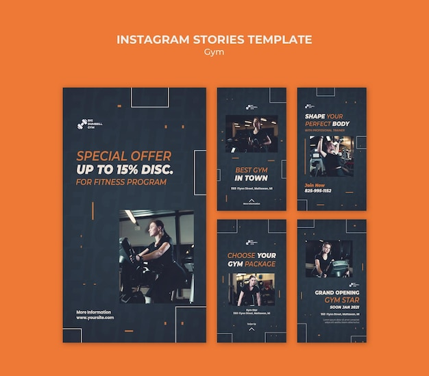 Histórias de instagram de design de modelo de ginásio