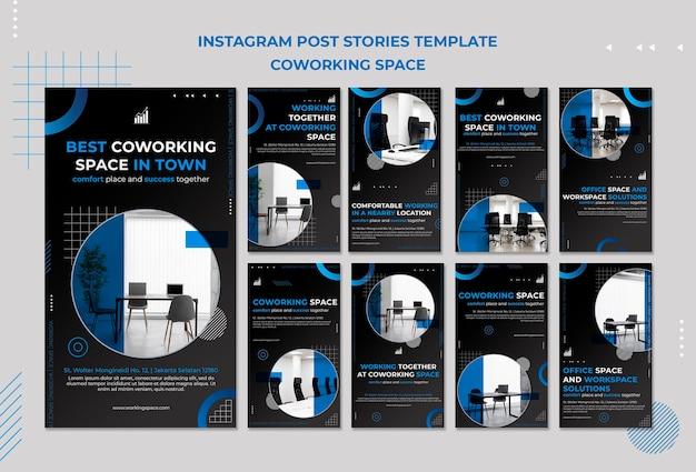 Histórias de instagram de espaço de coworking