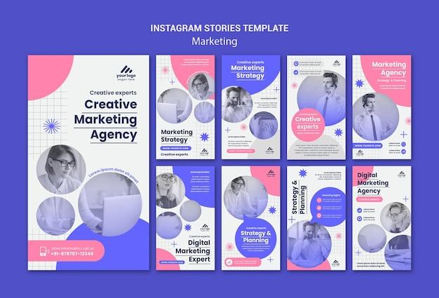 Histórias de instagram de estratégia de marketing