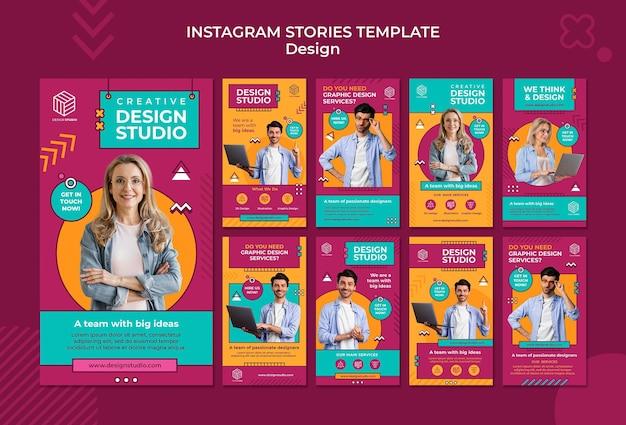 Histórias de instagram de estúdio de design Psd grátis
