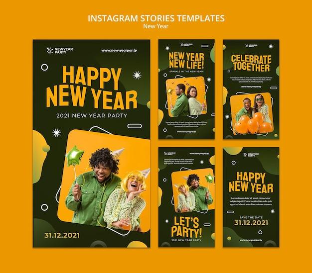 Histórias de instagram de feliz ano novo definidas