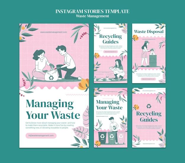 Histórias de instagram de gerenciamento de resíduos
