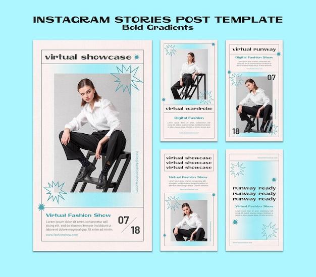 Histórias de instagram de gradientes ousados
