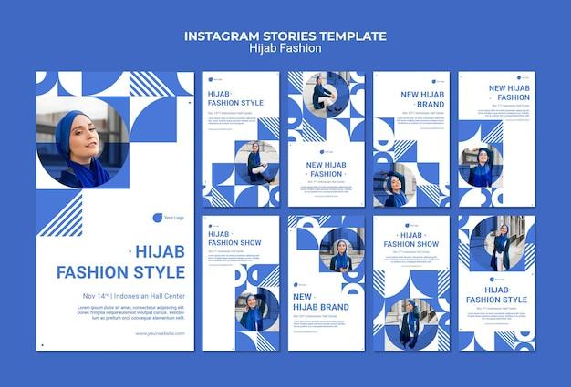 Histórias de instagram de moda em hijab