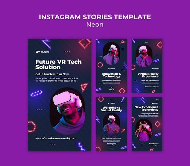 Histórias de instagram de óculos de realidade virtual de néon