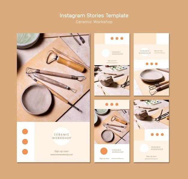 Histórias de instagram de oficina de cerâmica
