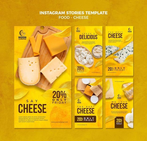 Histórias de instagram de queijo delicioso Psd Premium