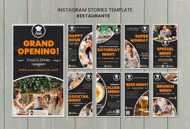 Histórias de instagram de restaurante