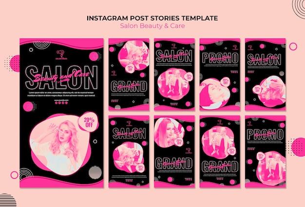 Histórias de instagram de salão de beleza