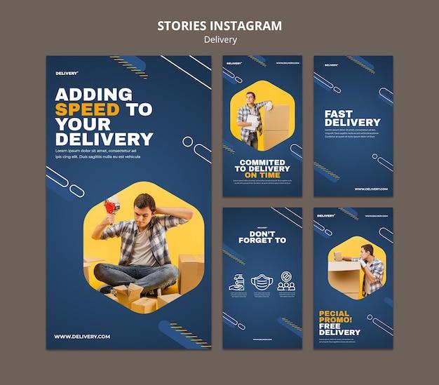 Histórias de instagram de serviço de entrega Psd grátis