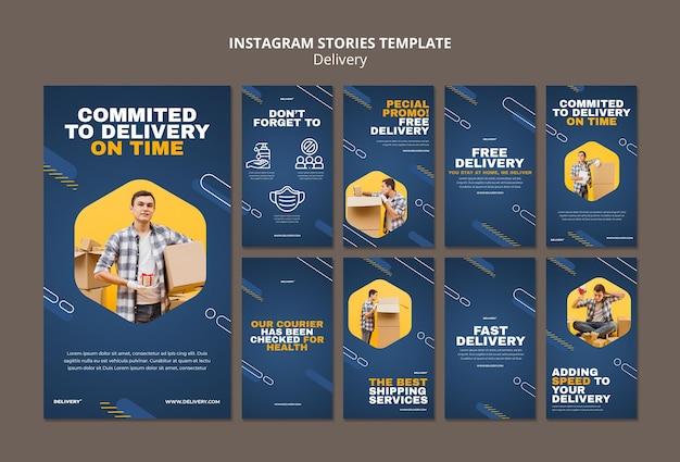 Histórias de instagram de serviço de entrega