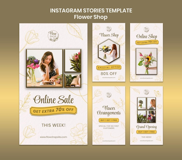 Histórias de instagram de venda online de loja de flores