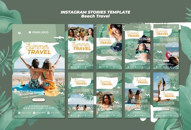 Histórias de instagram de viagens de praia no verão