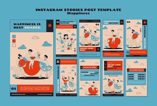 Histórias de instagram de webinar sobre felicidade