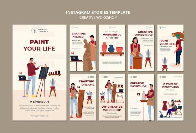 Histórias de instagram de workshop criativo