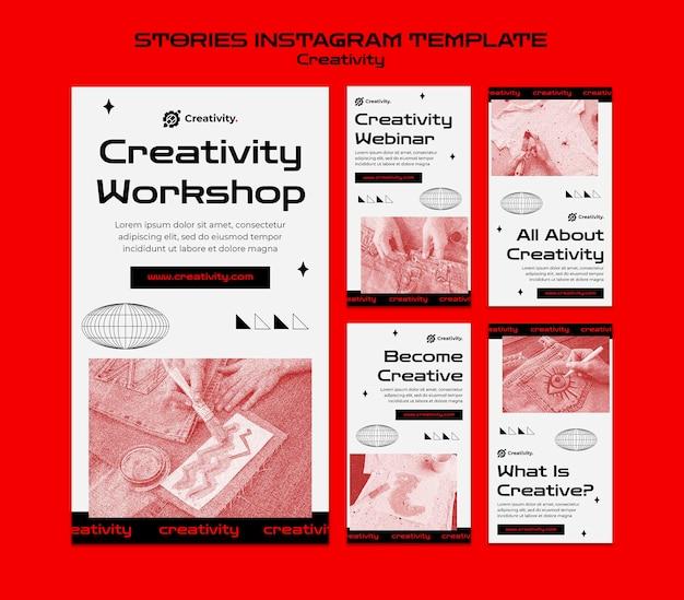 Histórias de instagram de workshop de criatividade