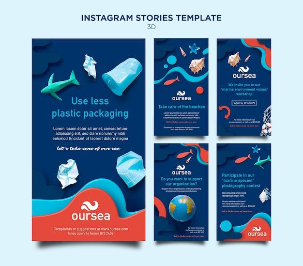 Histórias de instagram de workshop sobre meio ambiente marinho