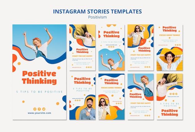 Histórias de instagram do conceito de positivismo
