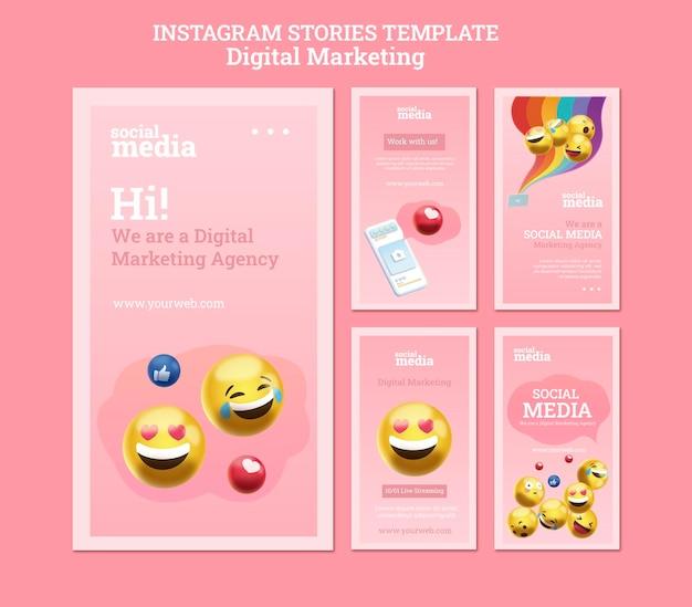 Histórias de instagram em redes sociais