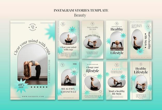 Histórias de ioga nas mídias sociais