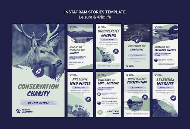 Histórias de lazer e vida selvagem no instagram