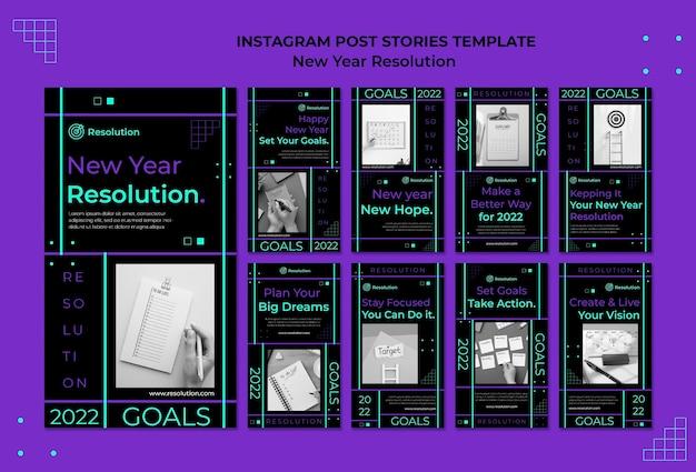 Histórias de mídia social com resoluções de ano novo sombrio