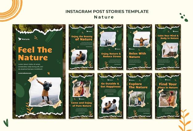 Histórias de mídia social da natureza