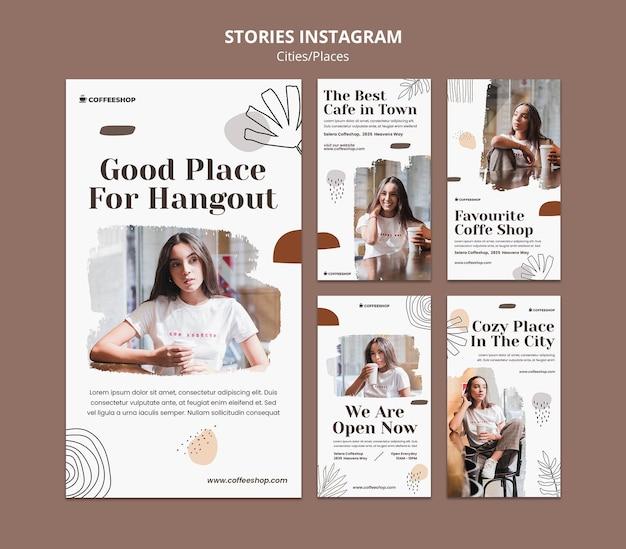 Histórias de mídia social de cafeteria