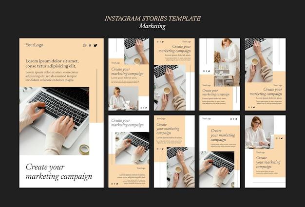 Histórias de mídia social de campanha de marketing