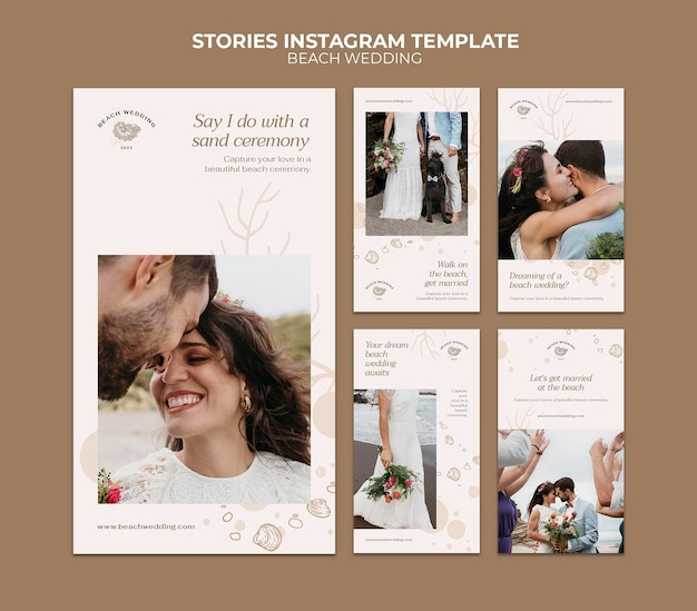 Histórias de mídia social de casamento na praia