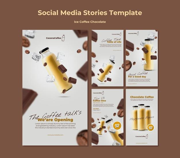 Histórias de mídia social de chocolate e café gelado