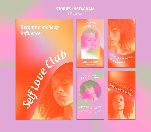 Histórias de mídia social de clube de amor próprio gradiente